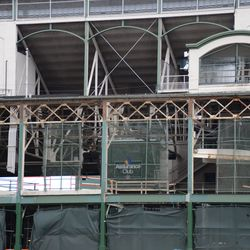 12:28 p.m. The exposed framework, along the top of the west side of the ballpark -