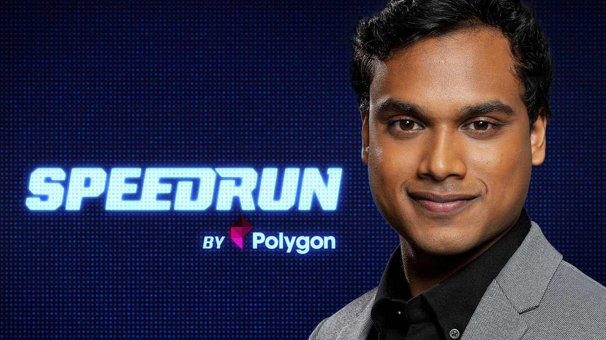 host Jimmy Mondal looks to camera in front of the Speedrun logo