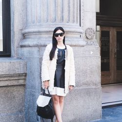 """Marta of <a href=""""http://www.itssuperfashion.com""""target=""""_blank"""">It's Super Fashion</a> is wearing a French Connection coat and dress and <a href=""""http://www.gilt.com/sale/women/fall-shoes-6633/product/1055410877-ava-aiden-lyndon-t-strap-pump?modal_clic"""