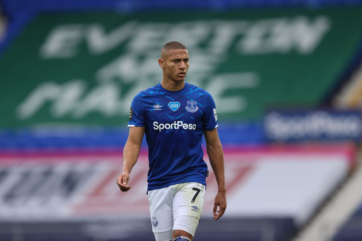 Richarlison of Everton during the Premier League match between Everton FC and Aston Villa at Goodison Park on July 16