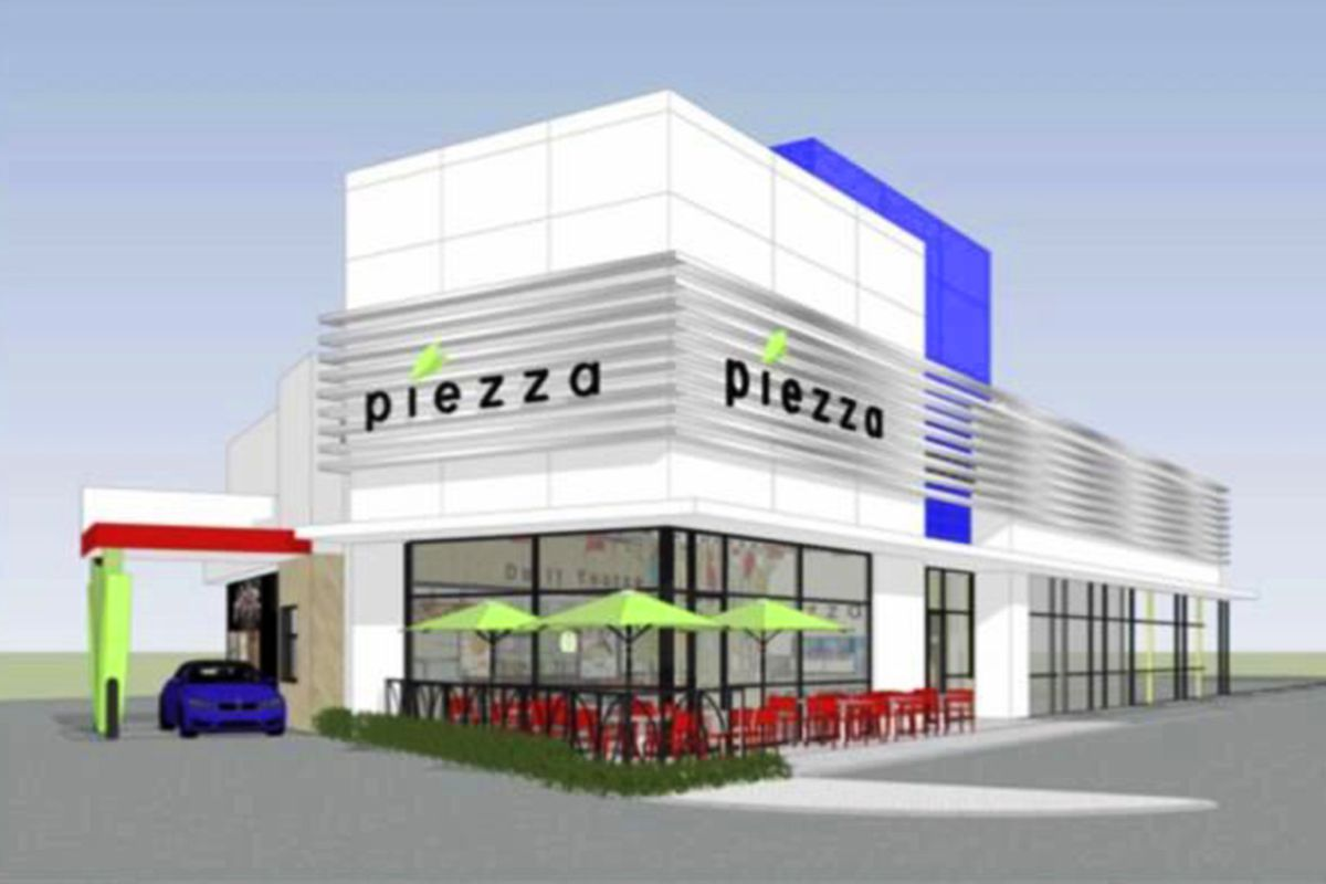 Rendering of Piezza, a drive-thru, choose your own ingredients pizza concept, headed to Blue Diamond Road.