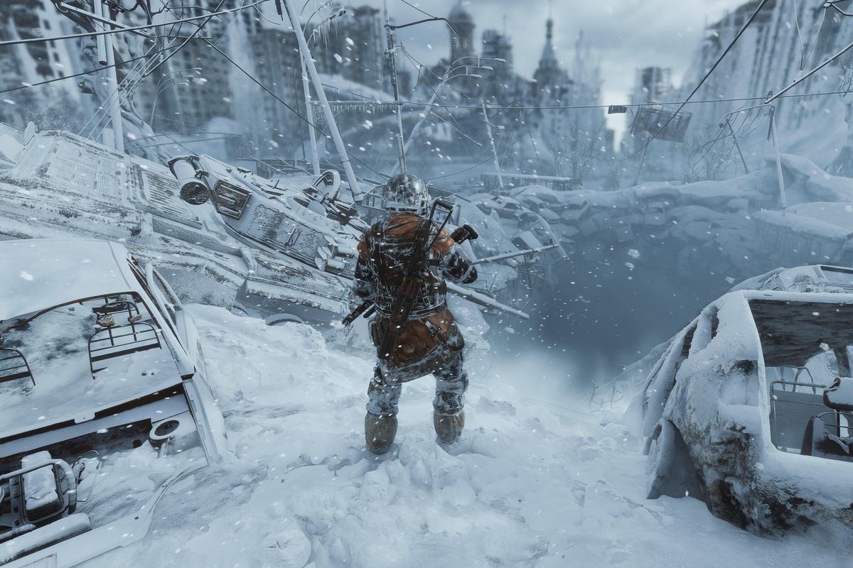 A soldier stands in a snow-covered city in a screenshot from Metro Exodus.