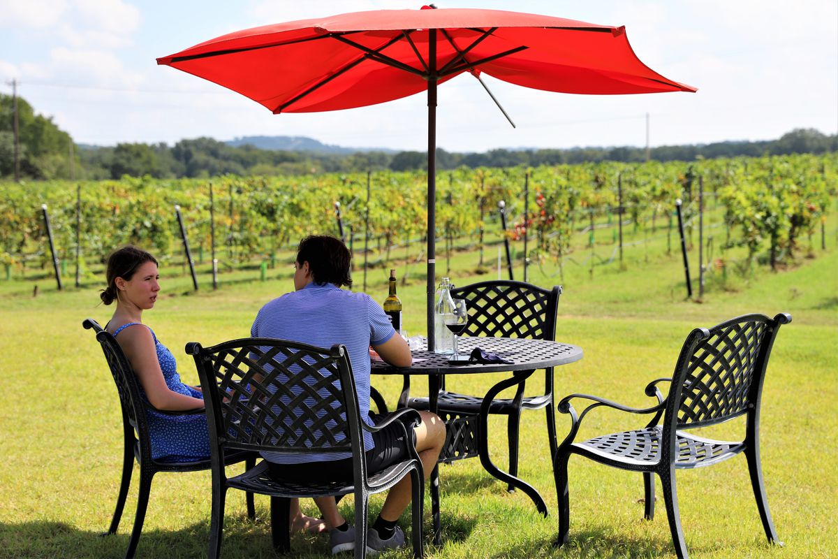 A woman and man are seated outdoors on chairs at a table with a red umbrella facing vineyards