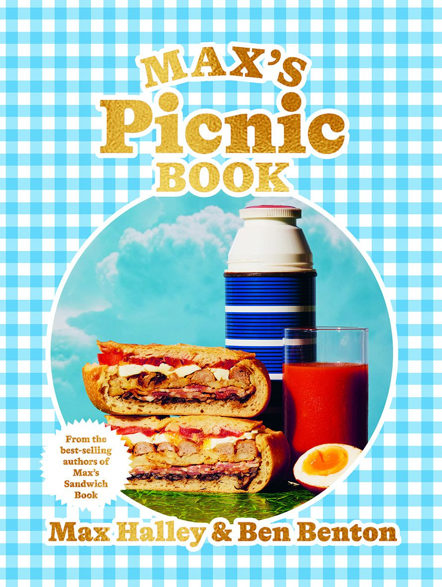 A blue gingham book cover with a photo of a sandwich, a thermos, and a cup of tomato juice