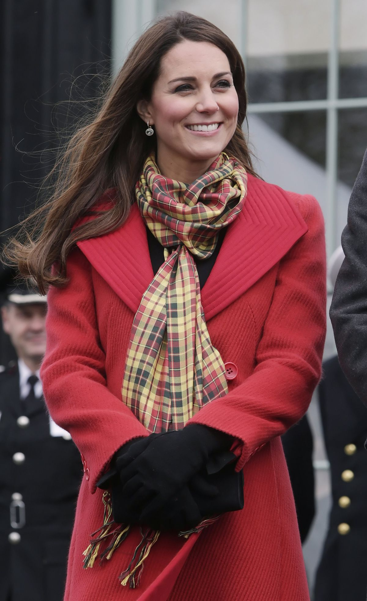Kate Middleton, a.k.a. the Countess of Strathearn, wearing a Strathearn tartan scarf.