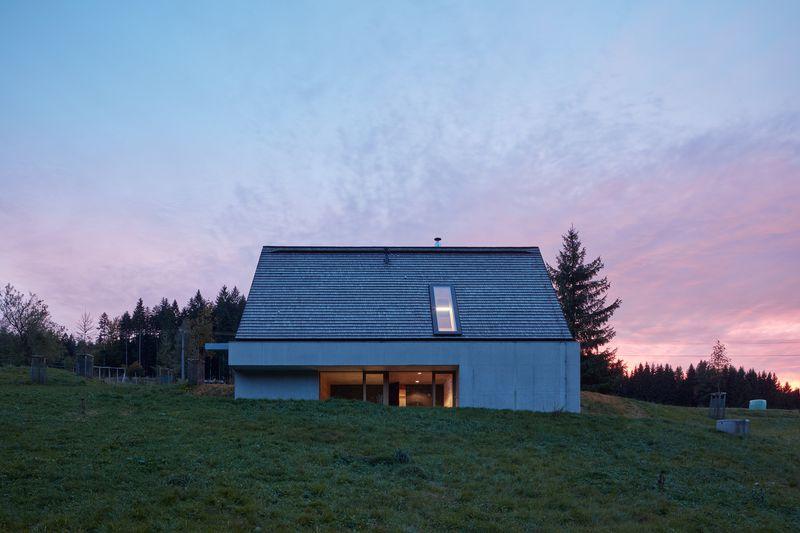 A-frame house at dusk
