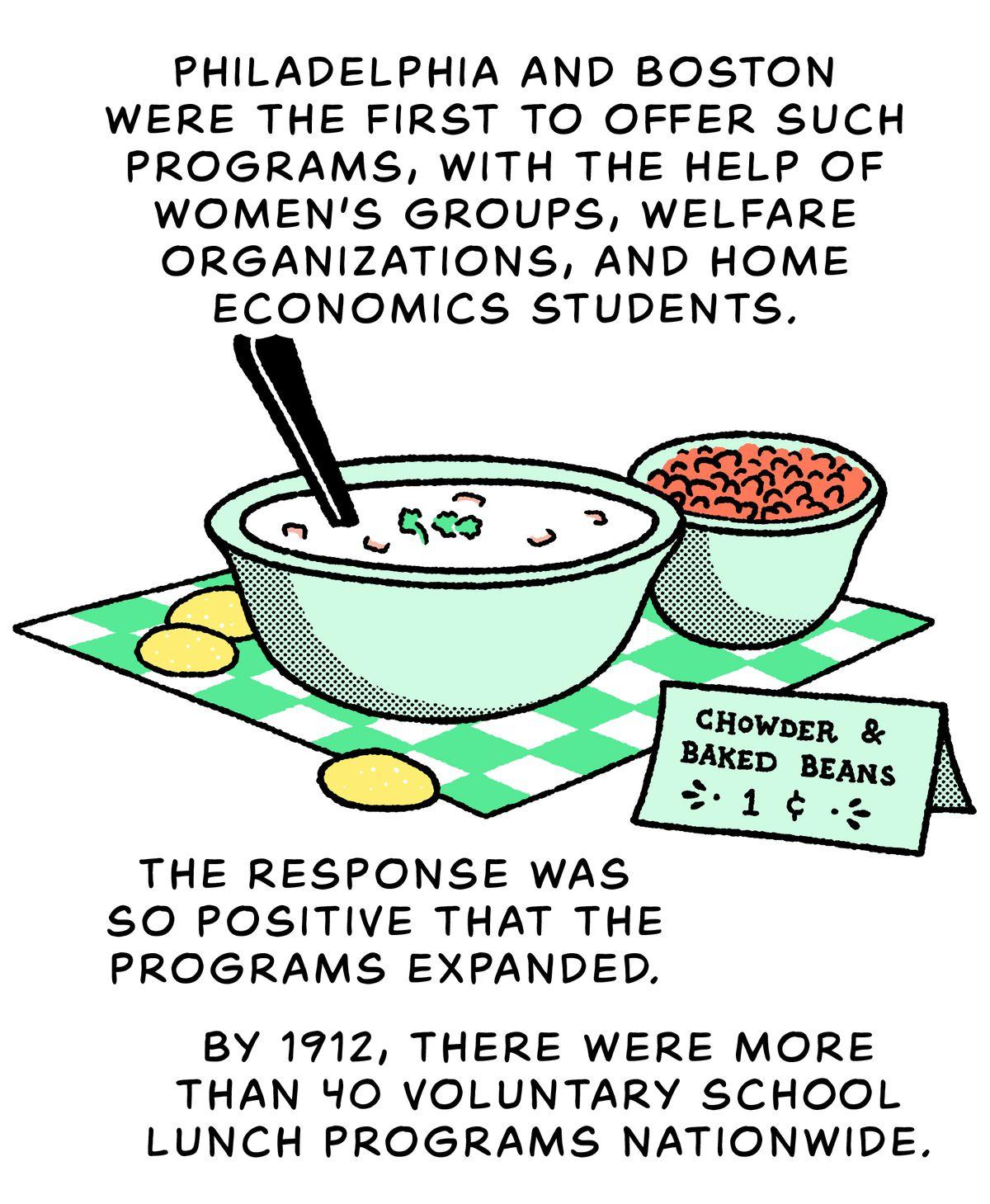 Un bol de chaudrée et de fèves au lard : Philadelphie et Boston ont été les premiers à offrir de tels programmes, avec l'aide de groupes de femmes, d'organisations sociales et d'étudiants en économie domestique.  La réponse a été si positive que les programmes se sont élargis.  En 1912, il y avait plus de 40 programmes de repas scolaires volontaires dans tout le pays.