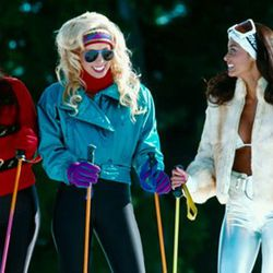 Leggings + ski goggles + puffy jacket = '80s ski bunny. (That's a still from Hot Tub Time Machine, but try real '80s ski movies for inspiration.)