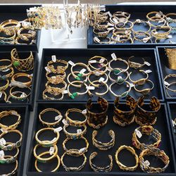 Plenty of bejeweled bangles in an array of styles, from gold to rose gold to silver and more.