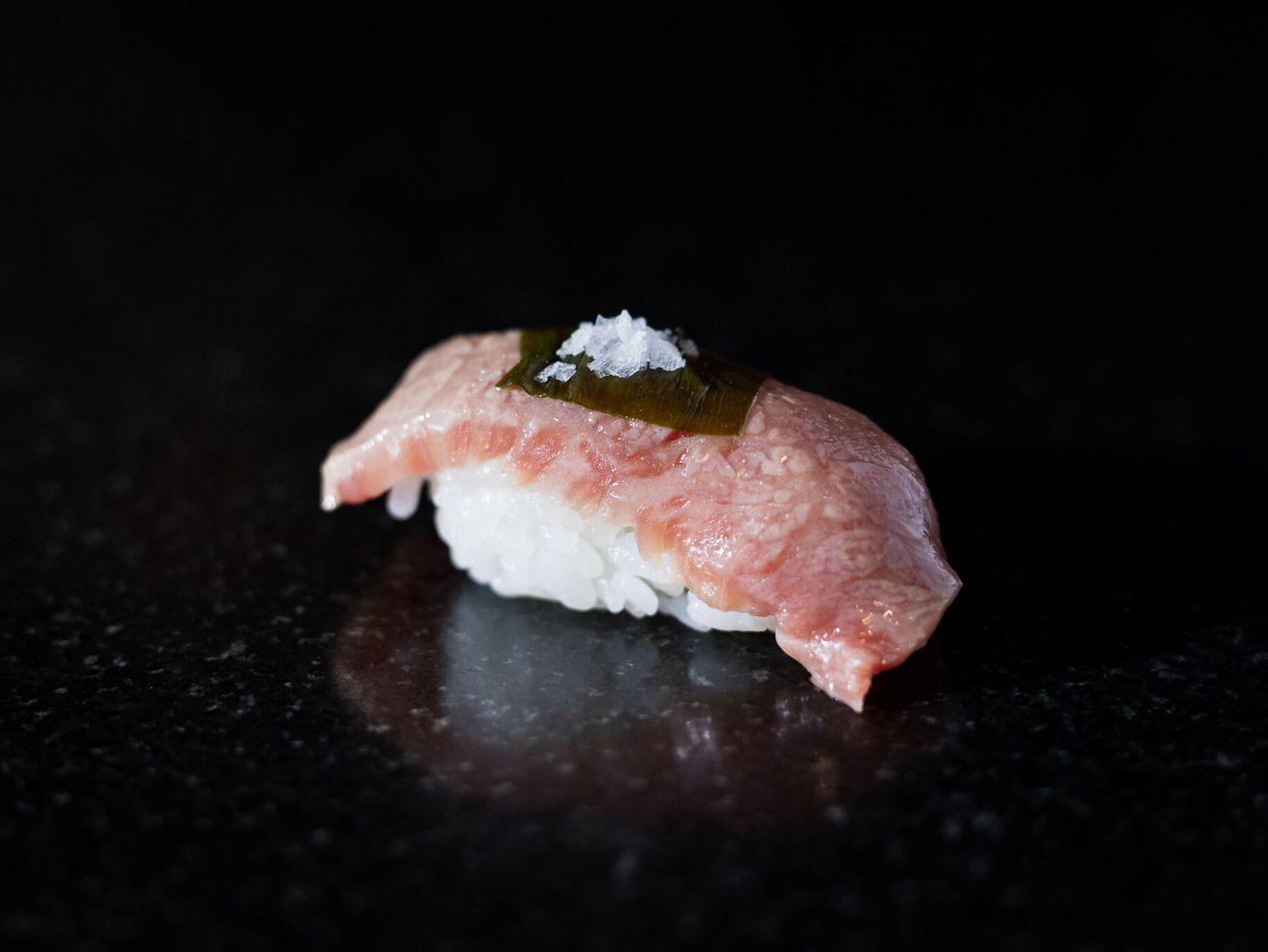 A5 wagyu, seven-month-pickled ramp, sea salt