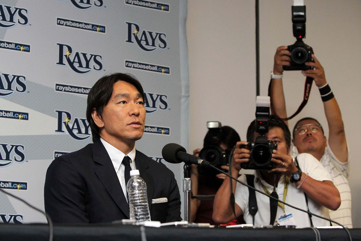 May 1, 2012; St. Petersburg, FL, USA; Tampa Bay Rays designator hitter Hideki Matsui addresses the media after he was signed to a minor league contract at Tropicana Field. Mandatory Credit: Kim Klement-US PRESSWIRE
