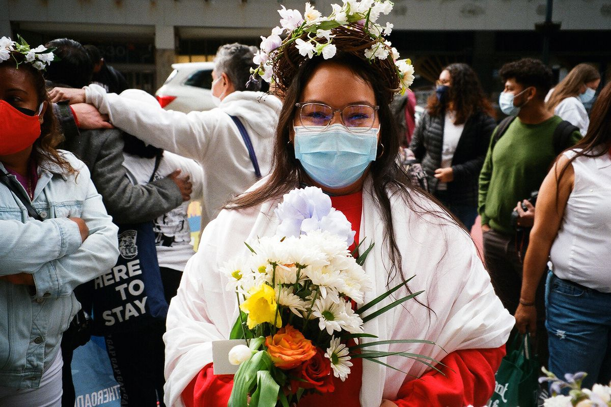 Veronica Leal took part in an Easter Sunday demonstration outside then-Gov. Andrew Cuomo's Manhattan office, April 4th, 2021.