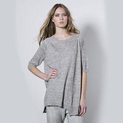 "<b>Treat</b> Wendy Short Sleeve Knit at <b>Covet + Lou</b>, <a href=""http://covetandlou.com/collections/apparel/products/treat-wendy-short-sleeve-knit-in-grey"">$198</a>"
