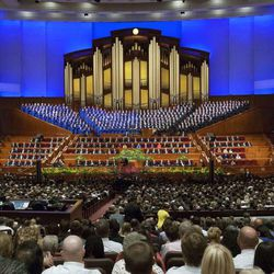 Members of The Church of Jesus Christ of Latter-day Saints gather for the afternoon session of the 184th Semiannual General Conference Sunday, Oct. 5, 2014, at the Conference Center in Salt Lake City. Two BYU professors created an online tool that tracks scriptures cited in general conference.