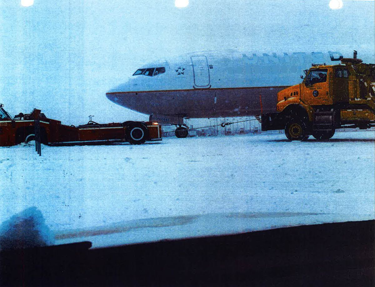 A United Airlines Boeing 737 after it went off a runway at O'Hare Airport on Dec. 30. Chicago Department of Aviation photo