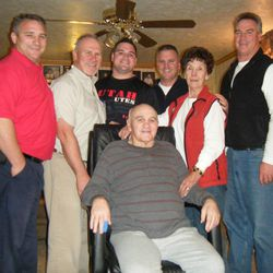 Don Fullmer, 72, front, is surrounded in December by his sons and wife, from left, Troy, Larry, Kade, Hud, Nedra and Brad Fullmer.