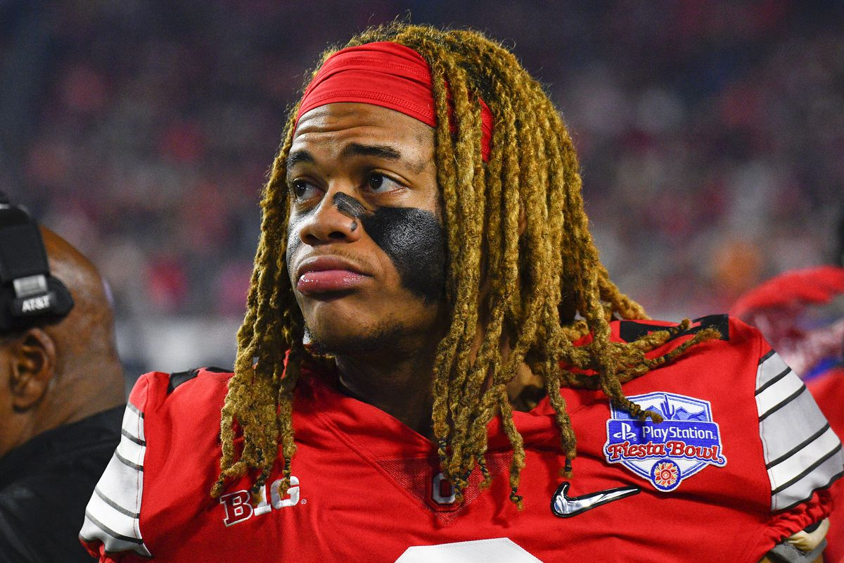 Ohio State Buckeyes defensive end Chase Young looks on during the 2019 PlayStation Fiesta Bowl college football playoff semifinal game between the Ohio State Buckeyes and the Clemson Tigers on December 28, 2019 at State Farm Stadium in Glendale, AZ.