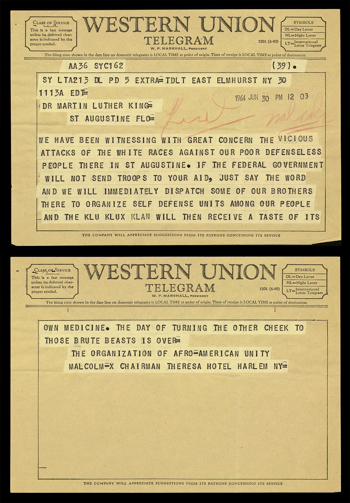 This Is The Telegram Mlk Sent Malcolm X S Wife After Her Husband S