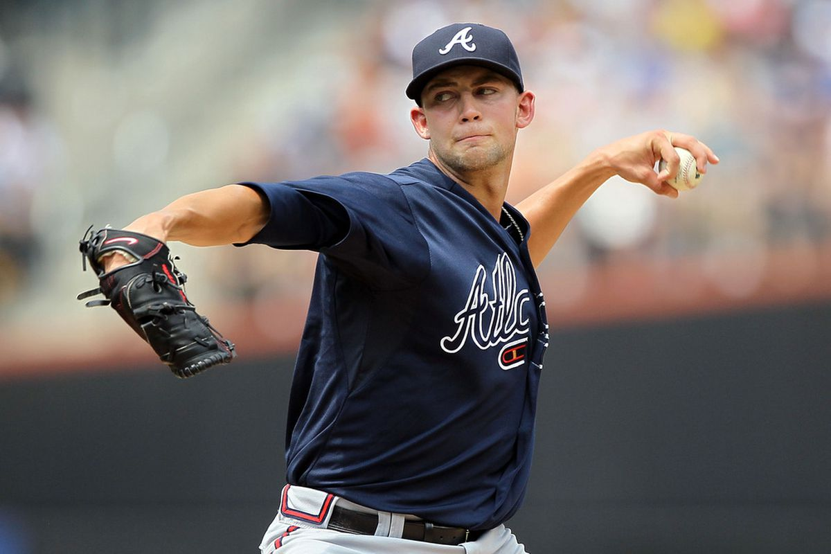 NEW YORK, NY - AUGUST 07:   Mike Minor #36 of the Atlanta Braves pitches against the New York Mets at Citi Field on August 7, 2011 in the Flushing neighborhood of the Queens borough of New York City.  (Photo by Jim McIsaac/Getty Images)