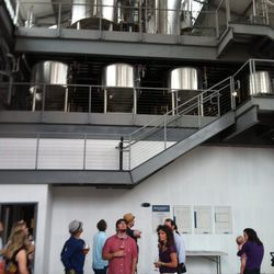 The three story space uses a gravity production method -- the brewing starts on the third floor and works its way down to the main level of the restaurant.