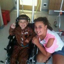 Siblings Billy and Sydney Sherwood in the hospital where he was treated for neuroblastoma.