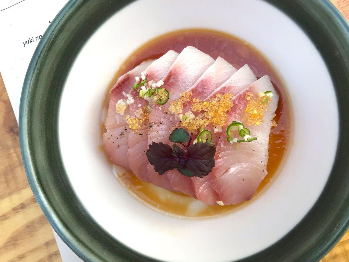 Yellowtail sashimi in ponzu