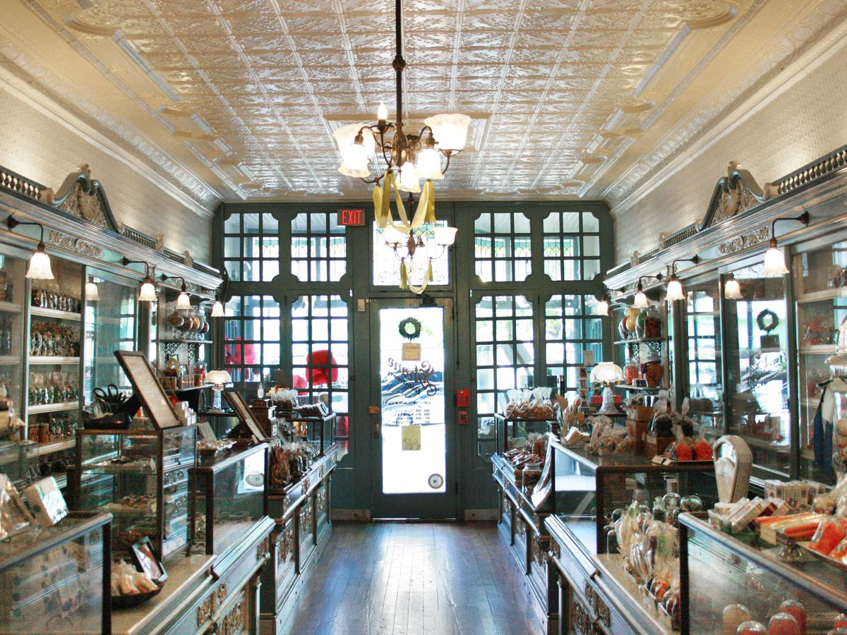 inside an old fashioned candy shop