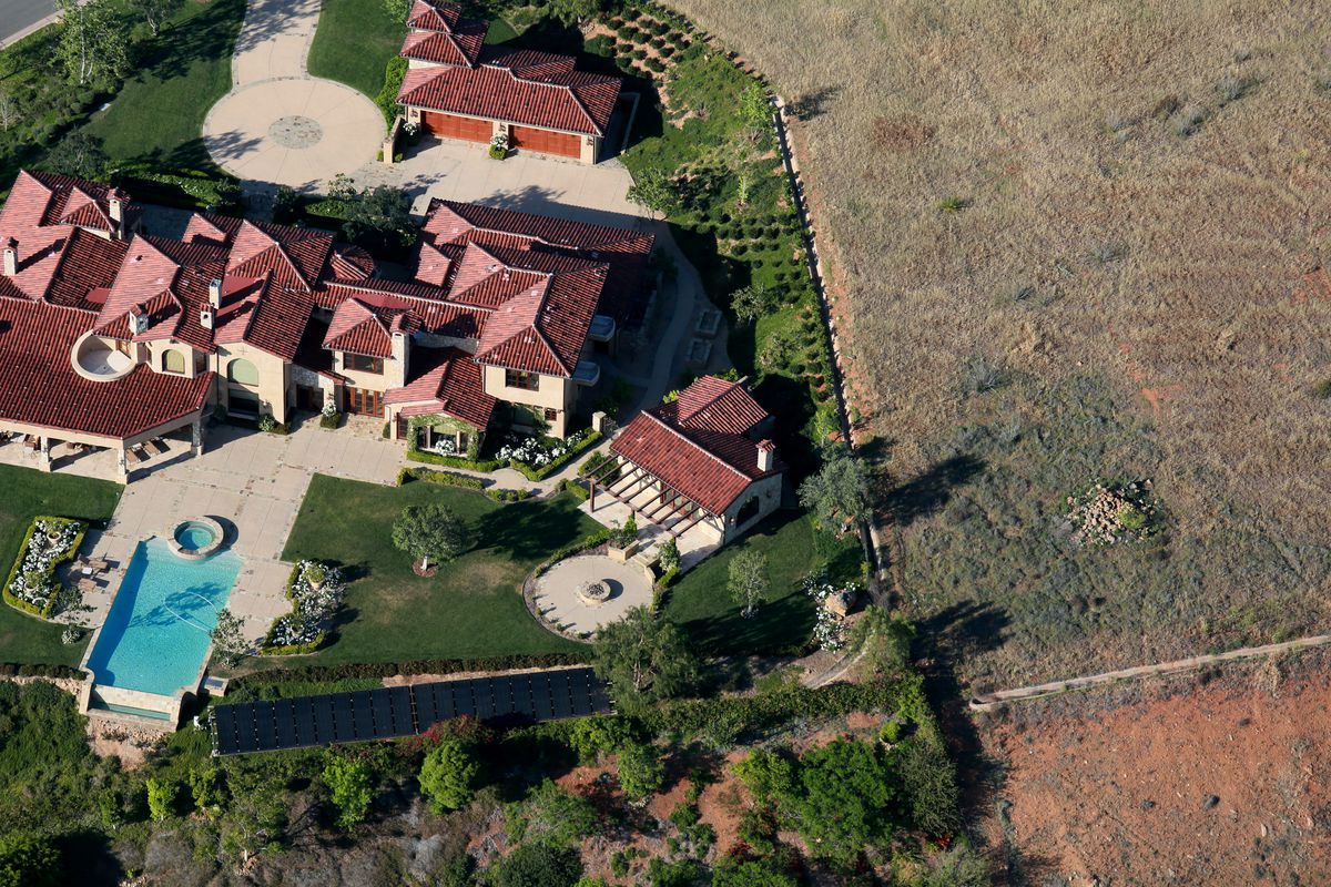 Aerial view overlooking landscaping on April 4, 2015 in Rancho Santa Fe, California.