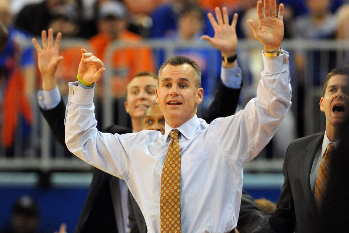 GAINESVILLE, FL -  NOVEMBER 11:  Coach Billy Donovan of the Florida Gators directs play against the Jackson State Tigers November 11, 2011 at the Stephen C. O'Connell Center in Gainesville, Florida.  (Photo by Al Messerschmidt/Getty Images)