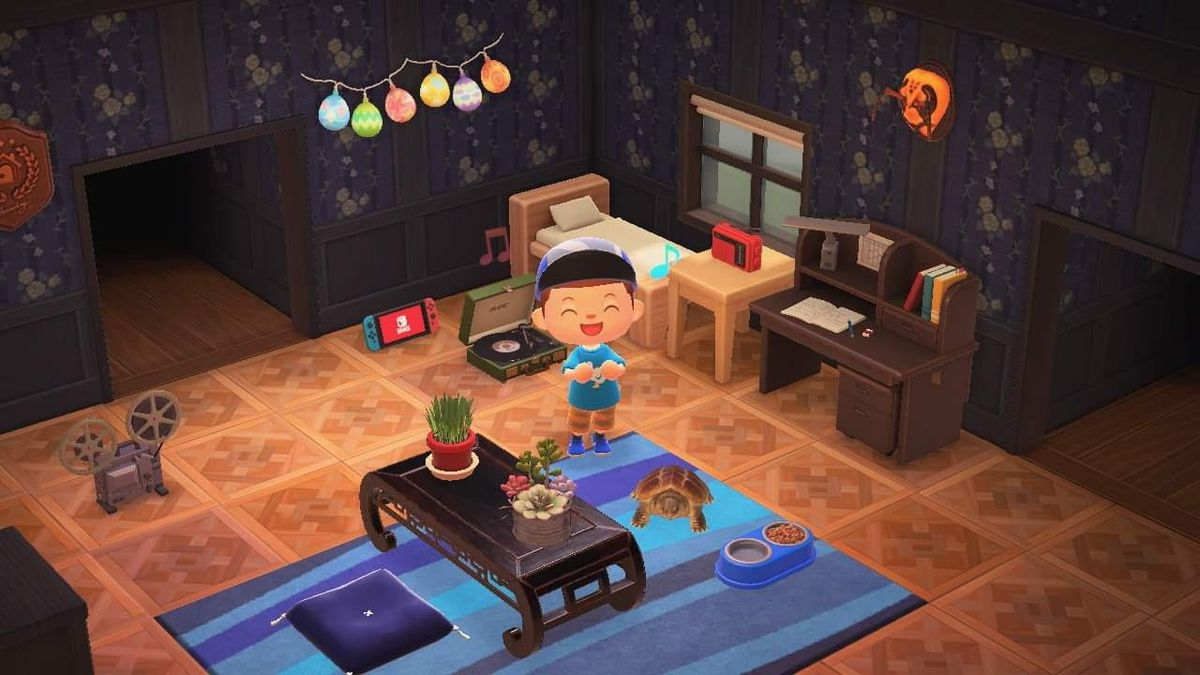Animal Crossing room with purple wallpaper and tiled flooring.