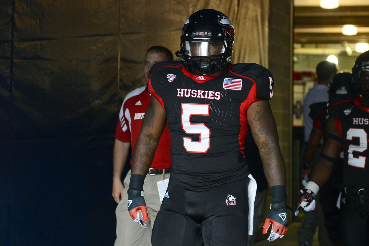Sep 01, 2012; Chicago, IL, USA; Northern Illinois Huskies running back Jamal Womble (5) before the game against the Iowa Hawkeyes at Soldier Field. Mandatory Credit: Mike DiNovo-US PRESSWIRE