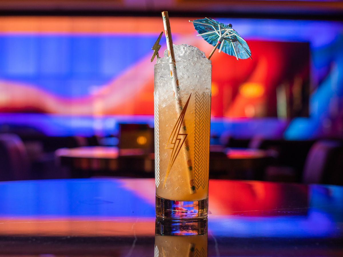 An orange nonalcoholic cocktail