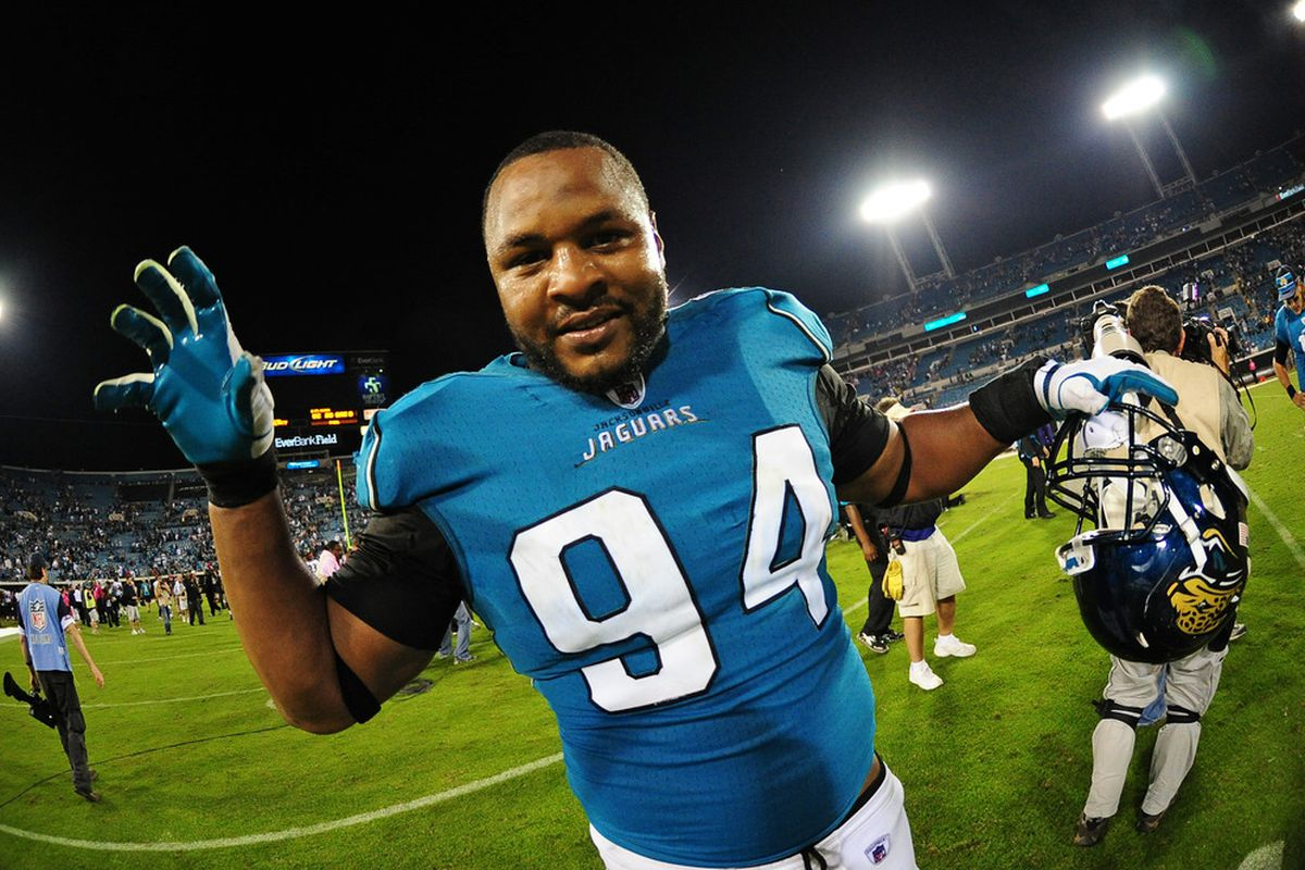 JACKSONVILLE, FL - OCTOBER 24: Jeremy Mincey #94 of the Jacksonville Jaguars celebrates after the game against the Baltimore Ravens at EverBank Field on October 24, 2011 in Jacksonville Florida. (Photo by Scott Cunningham/Getty Images)