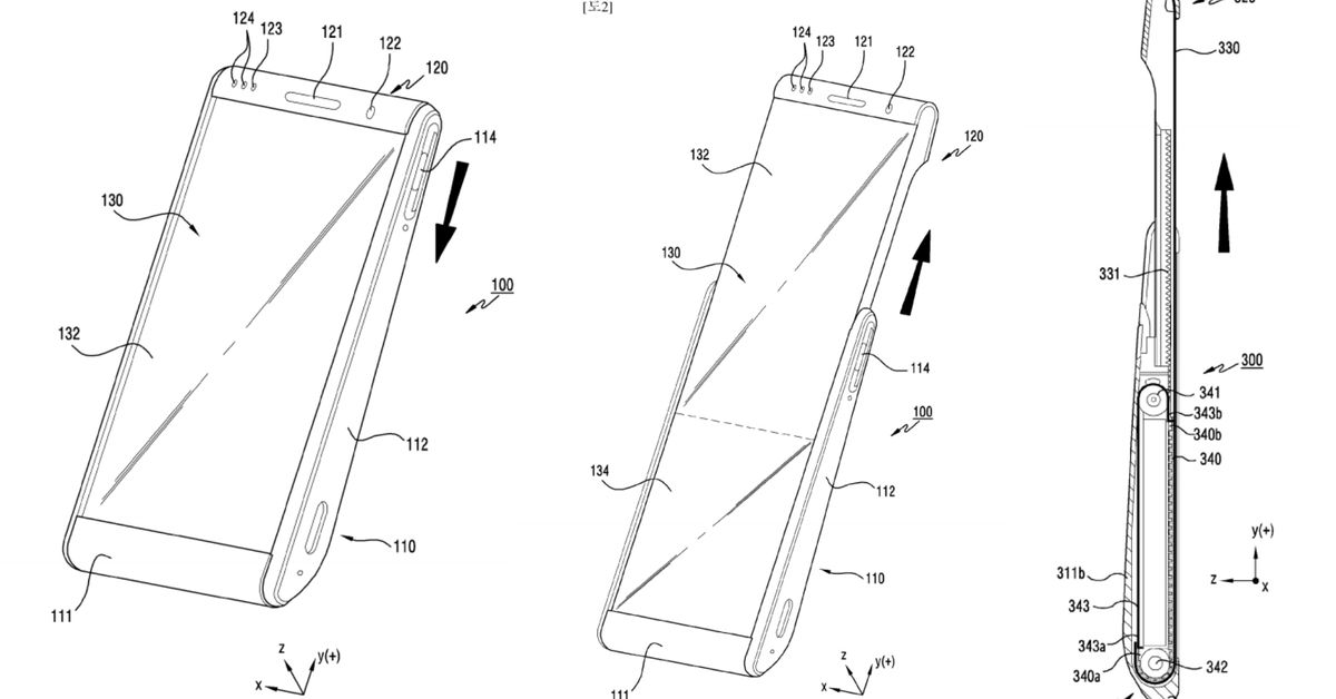 photo of Samsung patent shows rollable phone displays image