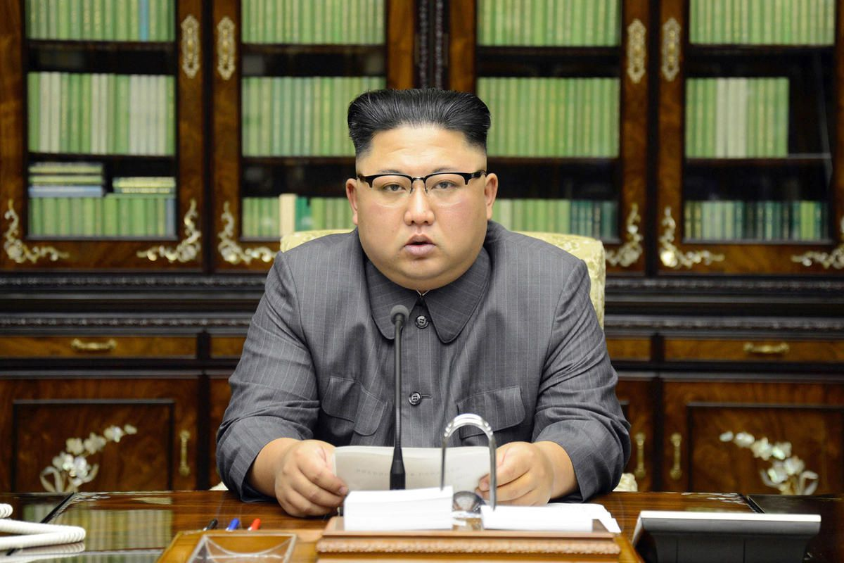 In this Thursday, Sept. 21, 2017, photo distributed on Friday, Sept. 22, 2017, by the North Korean government, North Korean leader Kim Jong Un delivers a statement in response to U.S. President Donald Trump's speech to the United Nations, in Pyongyang, No