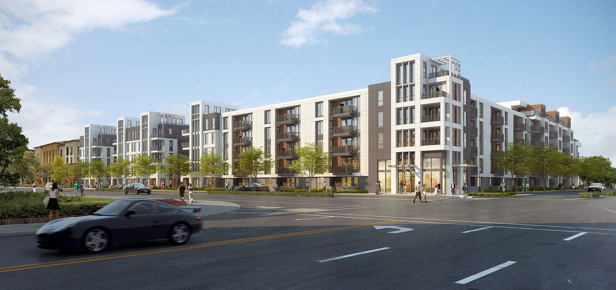 Another rendering of a three-story building in Fremont.