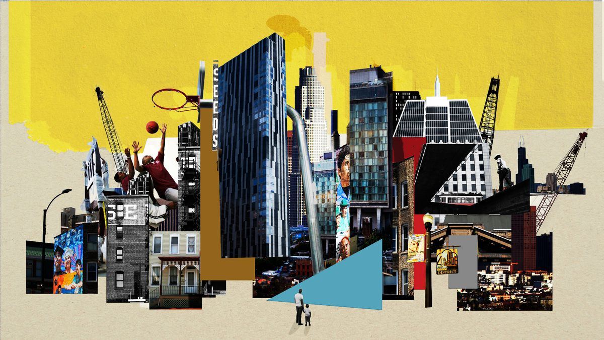 An illustration of tall buildings smashed together