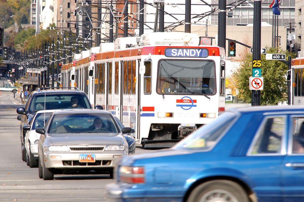 FILE - A UTA Trax train moves southbound near 700 S. and main street Oct 31st, 2001. The Utah Transit Authority is offering 10-minute Blue Line service every Saturday through the end of December to help holiday shoppers and sightseers to beat the traffic.