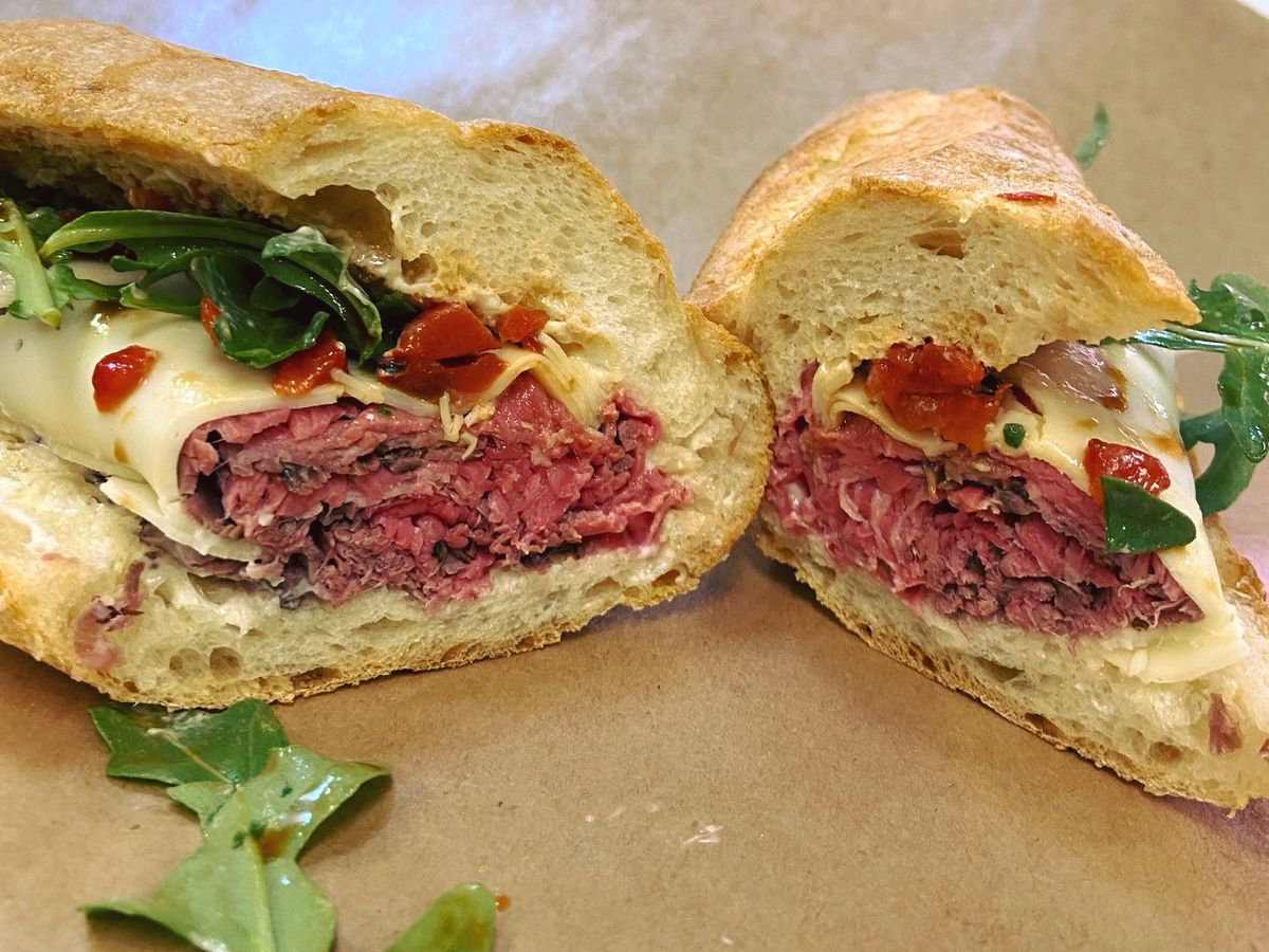 The Michael Henry: roast beef, provolone, roasted peppers, and arugula