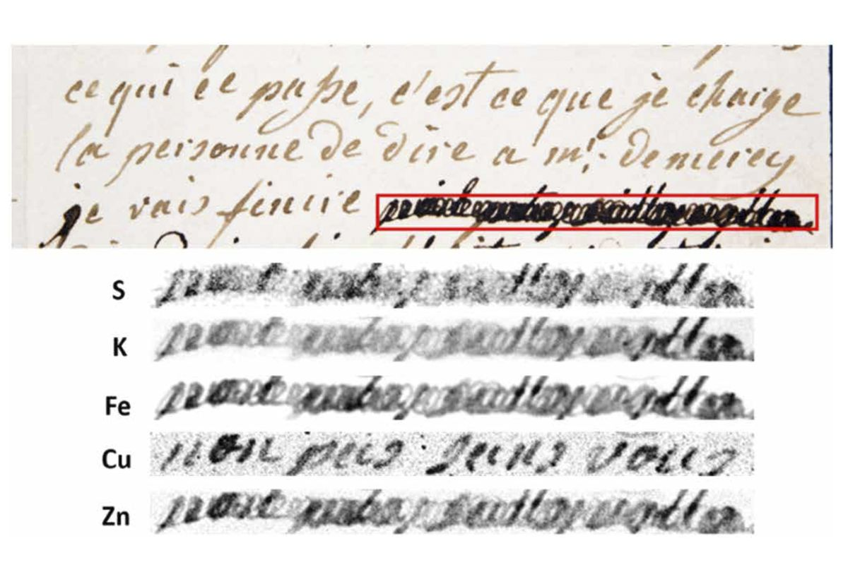 """This image provided by researchers shows a section of a letter dated Jan. 4, 1792 by Marie-Antoinette, queen of France and wife of Louis XVI, to Swedish count Axel von Fersen, with a phrase (outlined in red) redacted by an unknown censor. The bottom half shows results from an X-ray fluorescence spectroscopy scan on the redacted words. The copper (Cu) section reveals the French words, """"non pas sans vous"""" (""""not without you"""")."""