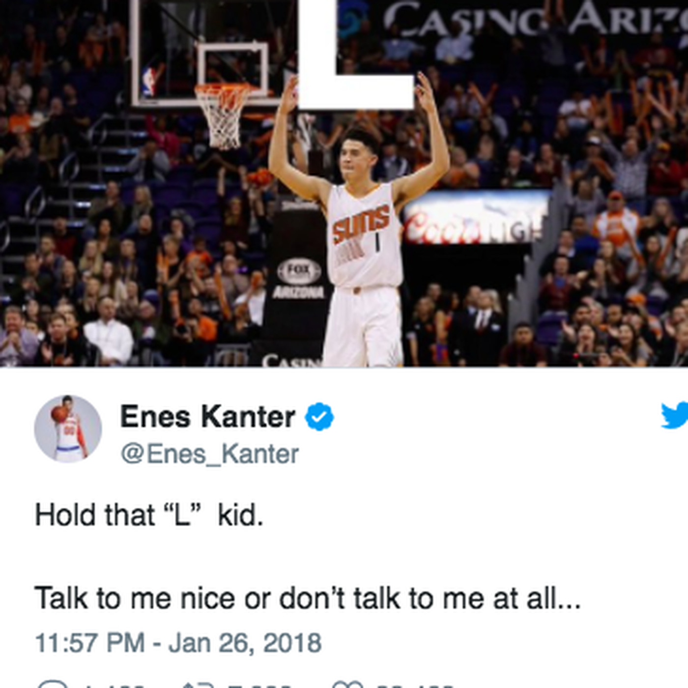 4ed8e586d06 Enes Kanter and Devin Booker  Knicks big man has a brand new beef -  SBNation.com