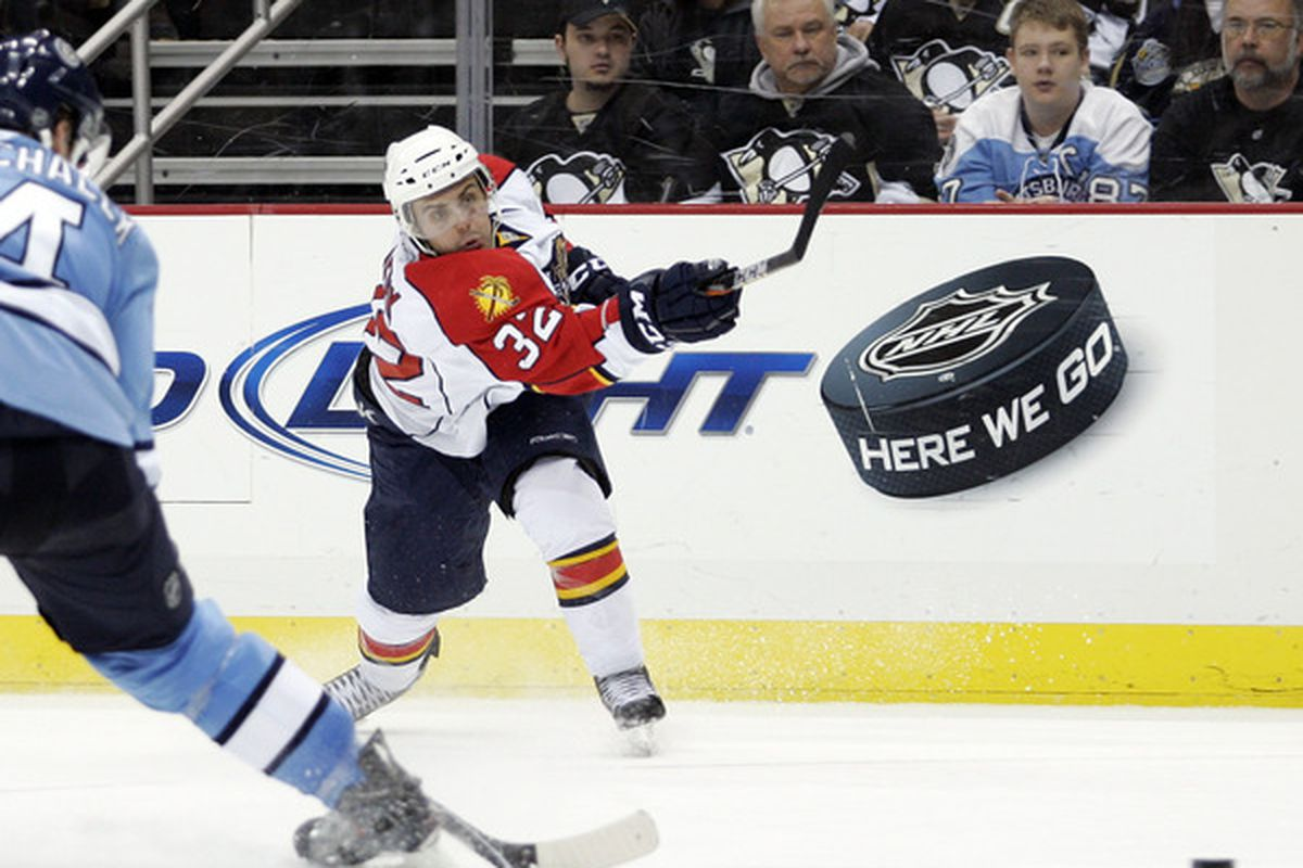 PITTSBURGH, PA - MARCH 27: Michal Repik #32 of the Florida Panthers takes a shot on goal against the Pittsburgh Penguins at Consol Energy Center on March 27, 2011 in Pittsburgh, Pennsylvania. (Photo by Justin K. Aller/Getty Images)