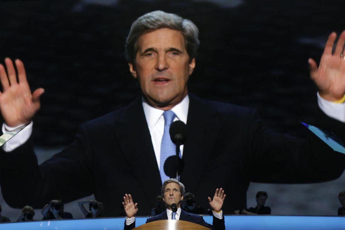 Sen. John Kerry of Massachusetts addresses the Democratic National Convention in Charlotte, N.C., on Thursday, Sept. 6, 2012.