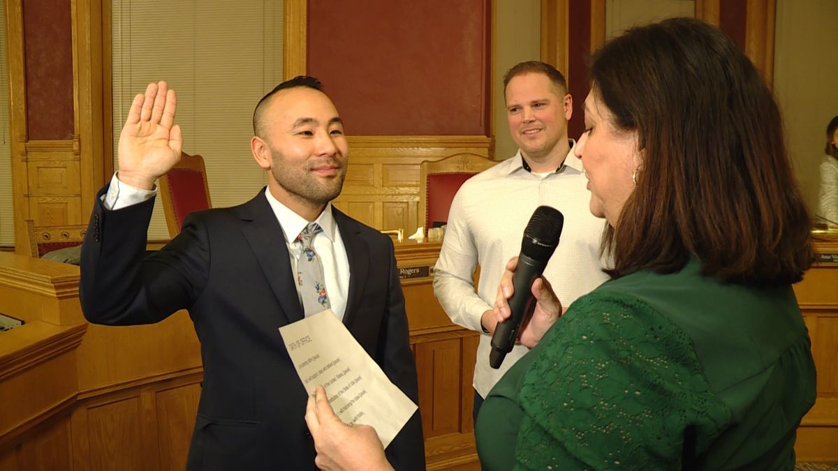 Darin Masao Mano is sworn in as the newest member of the Salt Lake City Council on Tuesday, Jan. 21, 2020.