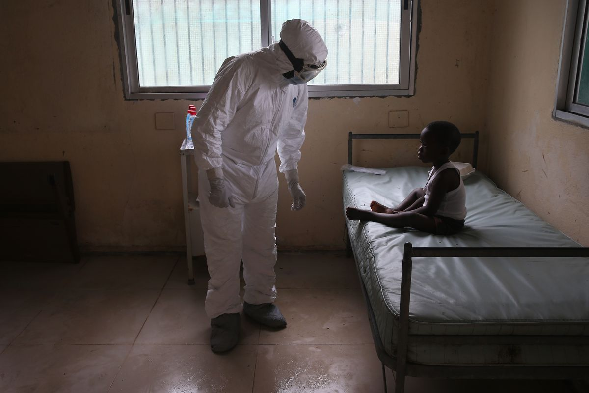 A holding center for suspected Ebola patients in Liberia.