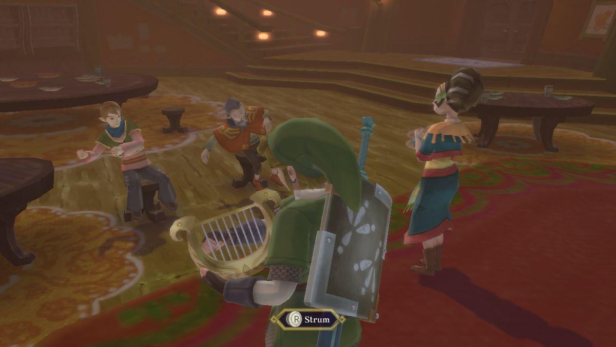 Link playing a harp in The Legend of Zelda: Skyward Sword HD