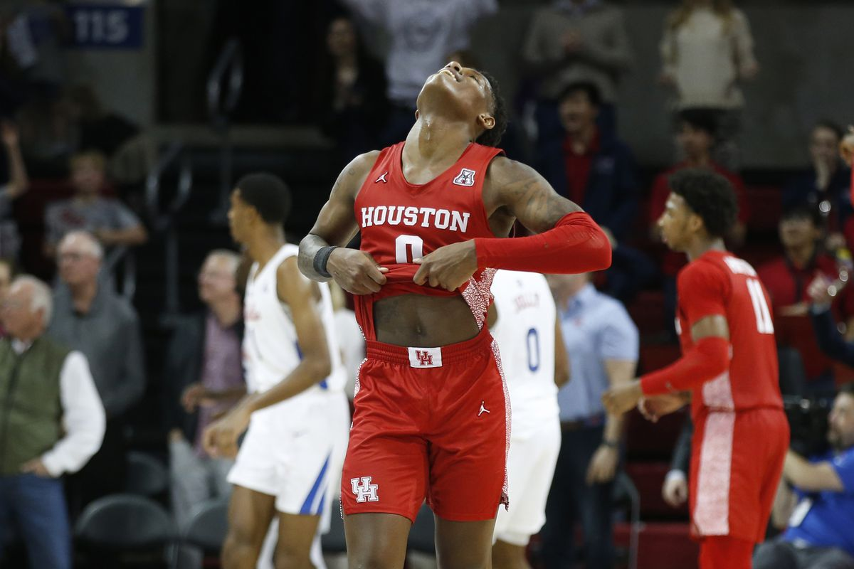 Houston Cougars guard Marcus Sasser reacts after losing to the Southern Methodist Mustangs at Moody Coliseum.