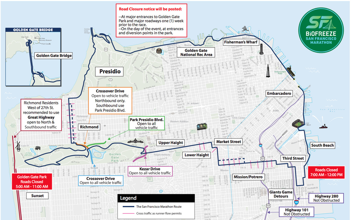 San Francisco Marathon Street Closures Muni Reroutes Time Map