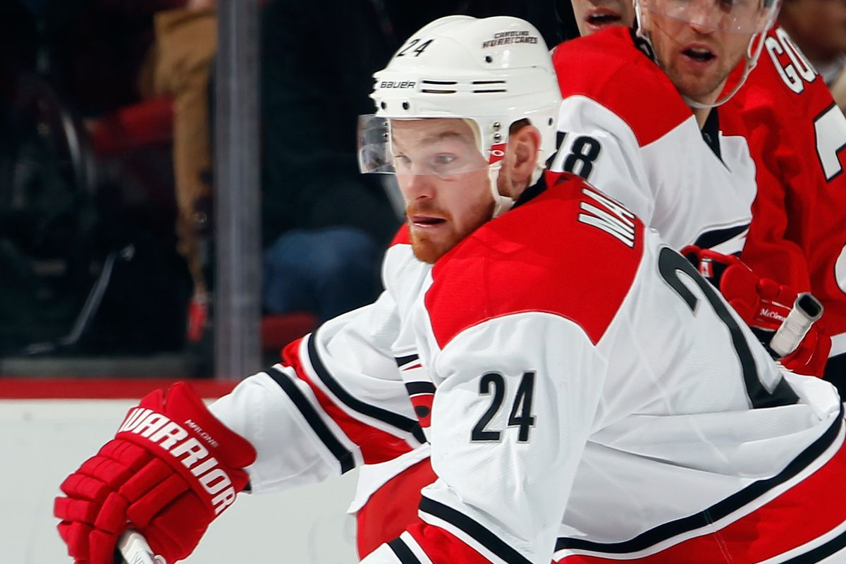 Brad Malone scored his second goal — a converted penalty shot — in as many games to help Carolina earn a point against Cup contender Anaheim.