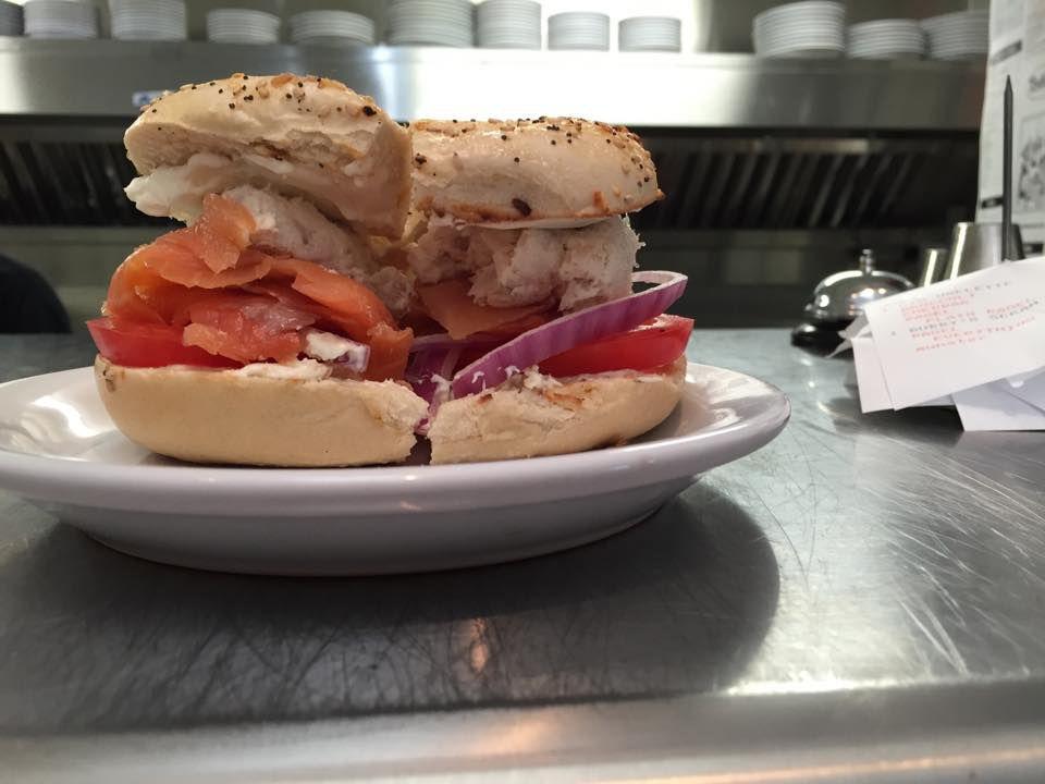 """""""The Smokey Fin"""" breakfast sandwich at Bubby's NY Style Delicatessen"""
